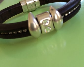 Silver and Crystals Leather Bracelet
