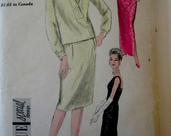 Vogue 5779 Womens 60s Sewing Pattern for One Piece Sheath Dress in 2 lengths & Overblouse with Shaped Collar Bust 32
