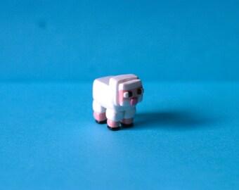Minecraft Sheep Figure - Cake Topper - Terrarium Accessory - Fairy Garden - Miniature Garden