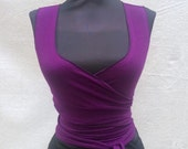 Cotton Lycra Stretch Wrap Choli - YOUR COLOR CHOICE - Sexy Yoga, Dance, Festival, Mad Max, Burning Man, Goth, Cosplay