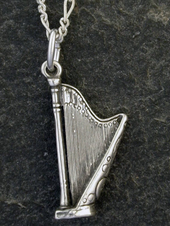 Sterling Silver Harp Pendant on a Sterling Silver Chain.