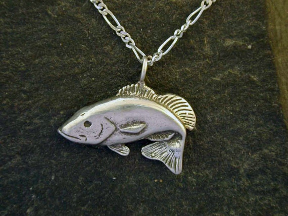 Sterling silver bass fish pendant on a sterling silver chain for Silver bass fish