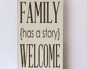 Every Family Has A Story, Photo Prop, Wooden Sign, Family Photo Wall Sign, Home Decor Sign, Art for Photo Wall, Typography, Choice of Color