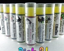 CHOOSE 3 Natural Moisturizing Lip Balms, Pick 3 Balms, You Choose Flavors with Jojoba Oil, Mango Butter, Vitamin E, Essential Oils