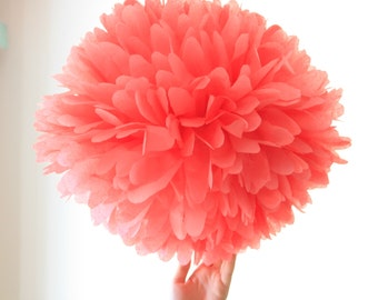 Coral wedding decoration - 1 tissue pompom flower ... birthday party decoration / baby mobile / nursery decor / baby shower / coral pink