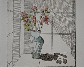 1980 Roses in Blue Vase Etching on Artist Paper