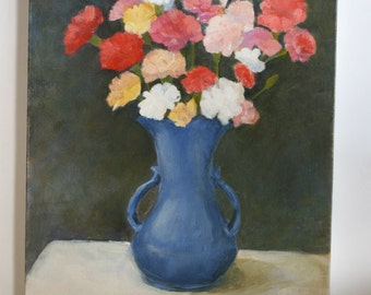 1980 Oil Painting of Carnations in Blue Vase