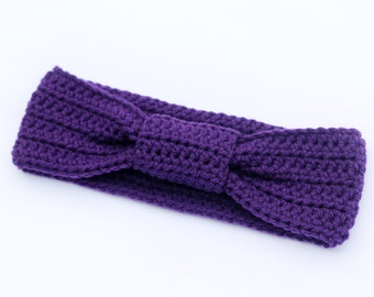 Bow Knotted Headband, Turban Headband, Ear Warmer, Wrap in Color Purple for Women
