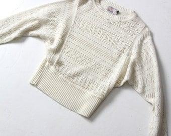 FREE SHIP  vintage white eyelet sweater, 80s batwing sleeve knit top