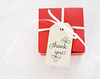 100 Thank You Tags, Gift Tags, Paper Favor Tags, Bridal Shower Gift Wrap, Wedding Favor Packaging - Bulk Gift Tags (SMGT-TY-RTS)