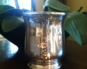 Mercury Glass Vase, Mercury glass candle holder