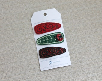 Lady Bug 3 pack 100% wool snap hair clips