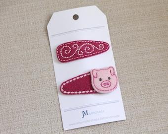 Pink Piggies Felt Snap hair clips 100% Wool Felt