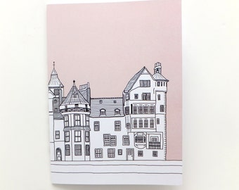 Edinburgh Notebook - Ramsay Lane, Edinburgh, Pastel Pink Journal, Gift for Her, blank journal, Travel Journal