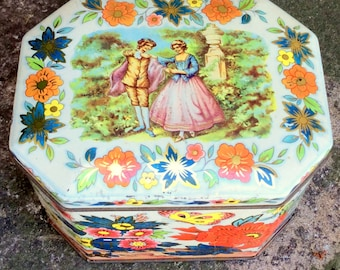 Decorative Candy or Biscuit Tin /  Lovely vintage metal canister with lid,  decorated with floral bouquets and pastoral landscape