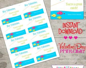 Valentine Fish - Printable Valentine's Day Cards - INSTANT DOWNLOAD