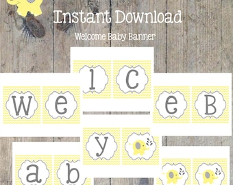 INSTANT DOWNLOAD - Welcome Baby Banner Yellow Elephant Baby Shower