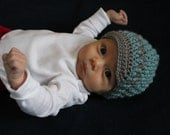 3-6 months Blue and Grey Crochet Brimmed Hat - READY TO SHIP