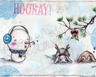 INSTANT DOWNLOAD Digi Stamp Digital Image Kawaii Christmas Bunnies Under the MistleToe ~ Jenny & Frank Image No. 139 by Lizzy Love