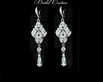 Art Deco Bridal earrings,  silver earrings, cubic zirconia tear drop