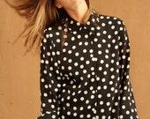 vintage 90s polka dot SLOUCHY oversize boxy short sleeve blouse top