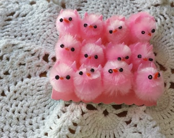 Fluffy Mini Chicks, 12 pieces, pink color, 1 inch size Cute and Tiny Chenaille Fuzzy Chicks, Easter and Spring Crafts