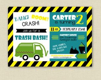 Garbage Truck Party Invitation - Trash Truck Invitation