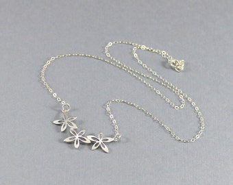 Lotus Necklace Silver Flower Charm on Sterling Silver Cable Chain Dainty Everyday Necklace Lotus Blossoms Bridesmaid Jewelry Christmas Gift