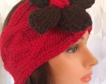 Red Headband Red Ear Warmer Flower Head Band Flower Ear Warmer Flower Headband