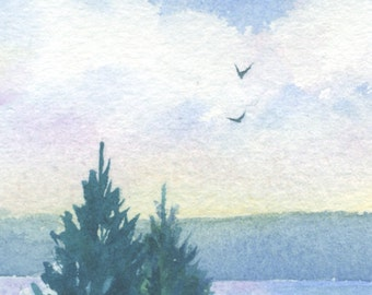 Original watercolor ACEO painting - Two is company