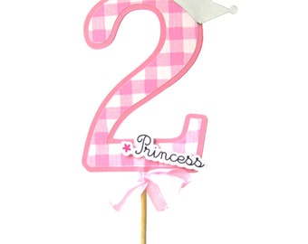 Princess Cake Topper - Custom Number  - 11 inch total - dimension of number 4,5 inch