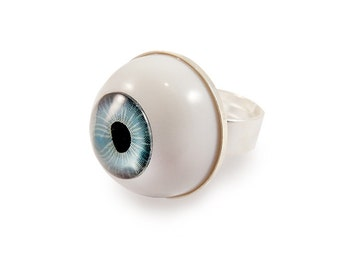 Eye Ring - Pastel Goth Blue Round Big - Halloween - Gothic Weird Quirky Funny Evil Eye Spooky Goth Gothic