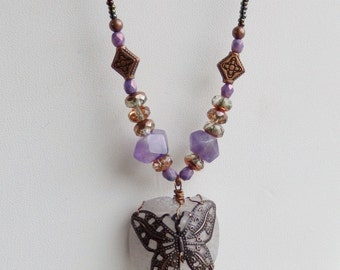 Butterfly Amethyst Necklace, Beach glass, Finger Lakes, February birthstone, gifts for women, copper and purple necklace, mothers day gift