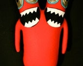MINI PLUSH MONSTER Luchados in Red with Two Heads and Gold Eyes