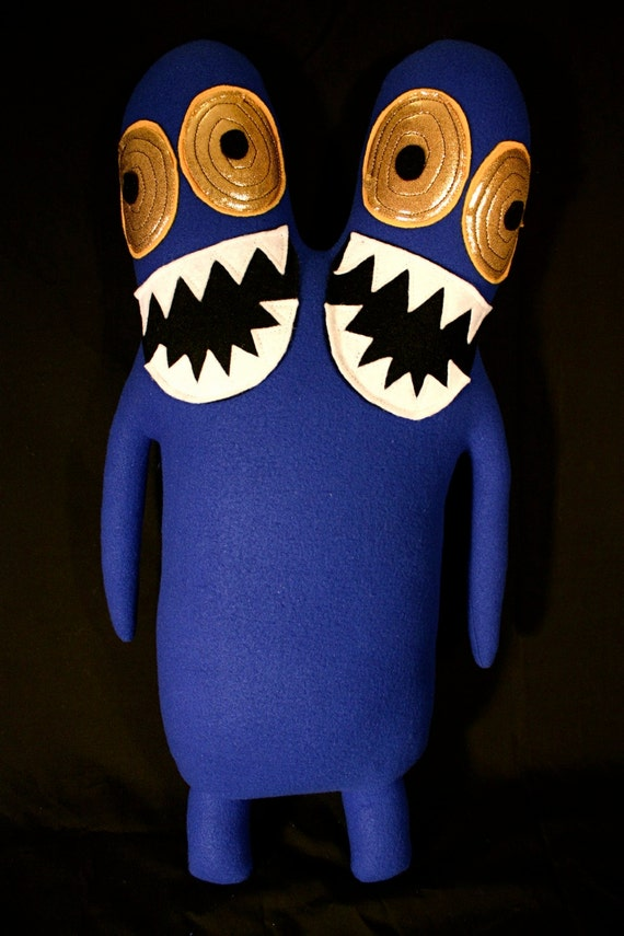 LARGE Luchados the Huge Two Headed Blue Monster with Golden Eyes