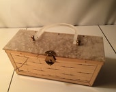 Reserved for buyer...Vintage 50s Gold Tone Basket Weave Box Purse Pearlized Lucite Lid