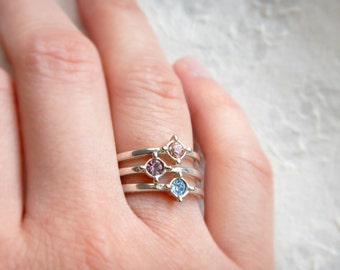 Sale VINTAGE Silver Plated Compass Style Rings Sold Individually Size 6 / Sweet Simple Stacking Rings Dainty Pink Blue or Purple Focal Point