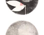 Double Moon, Zen Art, Scroll, Archival Reproduction
