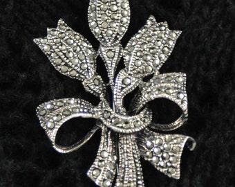 Vintage Sterling Silver Marcasite Tulip Pin, Brooch, Lapel Pin, Dress pin, Coat pin