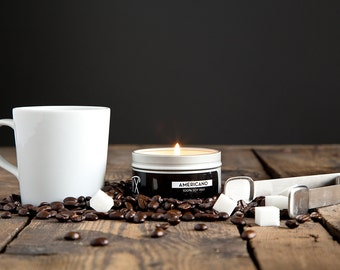 Americano Coffee Scented - 4 oz. Tin Soy Wax Candle - Coffee Lover Gift