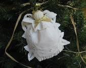 White Lace Angel Ornament White Battenburg Lace Doily Angel U-Pick Trim Color SnowNoseCrafts