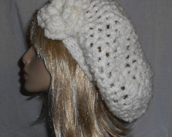 White Crochet Slouchy Hat with Removable Flower - FREE SHIPPING to US and Canada