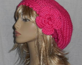 Hot Pink Crochet Slouchy Hat with Removable Flower - FREE SHIPPING to US and Canada