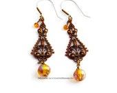 Moroccan Boho Spanish Topaz Golden Filigree Earrings