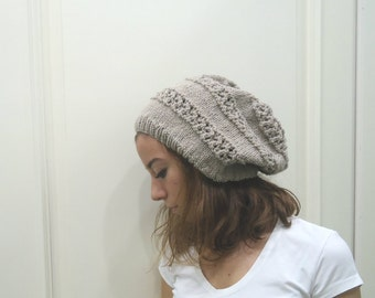 Hand Knitted  Light brown slouchy beanie beret Ready to Ship