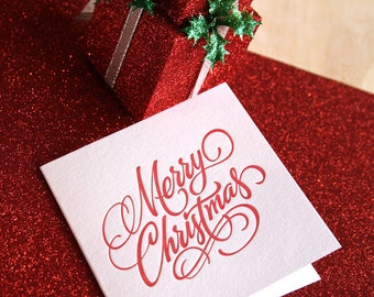 Letterpress Christmas card Hand lettered Merry Christmas in rich RED Made in Australia