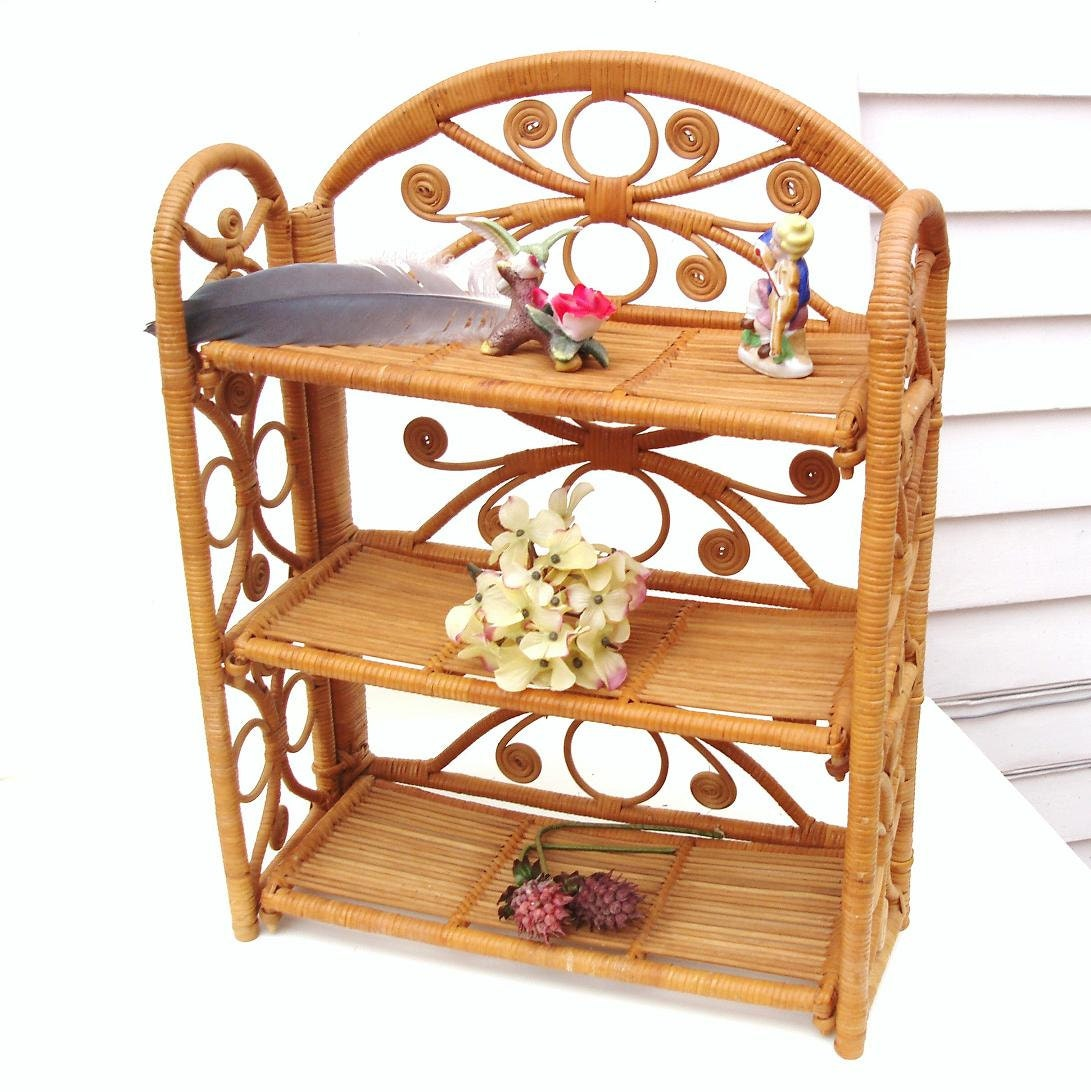 Vintage Wicker Shelf Folding Shelf Etagere Knick Knack Storage