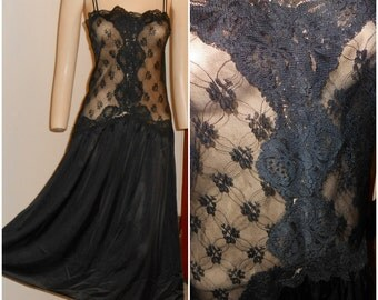 Vintage Black Sheer Lace Nightie by Lorraine Size Medium