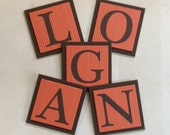 Orange and Brown Baby Boy Nursery Name Wall Letters Room / Wall Decor, 6 x 6 Personalized Wooden Plaques, Custom Children's Gift Ideas
