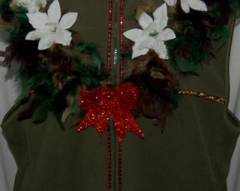 Ugly Christmas Sweater - Green with camo boa ugly holiday - women's 2X Fleece zippered vest - decorated - perfect for ugly sweater contest